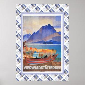 Vintage Swiss Railway Vierwaldstattersee Poster