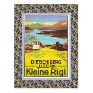 Vintage Swiss Raulway Poster, Dietschiberg, Luzern Postcard