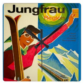 Vintage Swiss Ski, Jungfrau Square Wall Clock