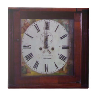 Vintage Swiss Wall Clock elegant design tan border Tile