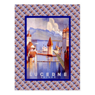 Vintage Switzerland, Lucerne, Bridges Postcard