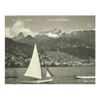 Vintage, Switzerland, Montreux, Lake Geneva, 1910 Postcard