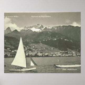 Vintage Switzerland, Montreux, Lake Geneva Poster