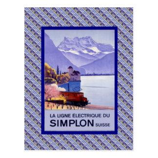 Vintage Switzerland, Simplon Electric railway Postcard