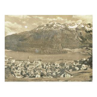 Vintage Switzerland, St Moritz and lake 1906 Postcard