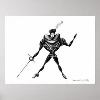 Vintage swordsman ink pen drawing art poster