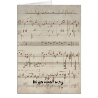 Vintage Symphony Musical Note Wedding Thank You Card