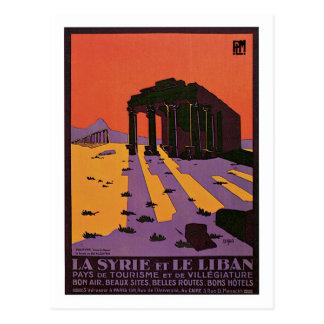 Vintage Syria (Palmyra) and Lebanon travel ad Postcard