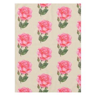 Vintage Tablecloth Pink Roses Flower Floral Botany