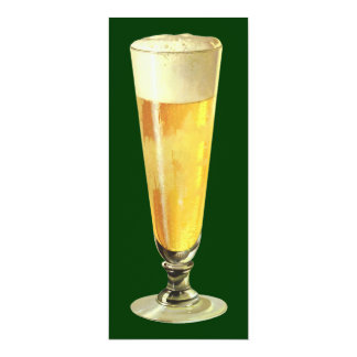 Vintage Tall Frosty Draft Beer, Alcohol Beverage 4x9.25 Paper Invitation Card
