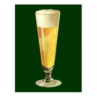 Vintage Tall Frosty Draft Beer, Alcohol Beverage Postcard