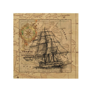 Vintage Tall Ship Nautical Wood Wall Art Gift Idea