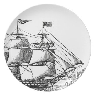 Vintage Tall Ship Woodblock Print Melamine Plate