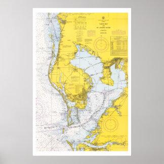 Vintage Tampa Bay nautical chart