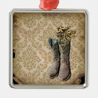 vintage tan damask western country cowboy metal ornament
