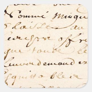 Vintage Tan French Letter Script Parchment Square Sticker