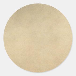 Vintage Tan Paper Parchment Background Template Round Sticker