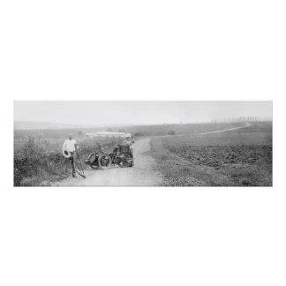 Vintage tandem 3-wheeler photographic print