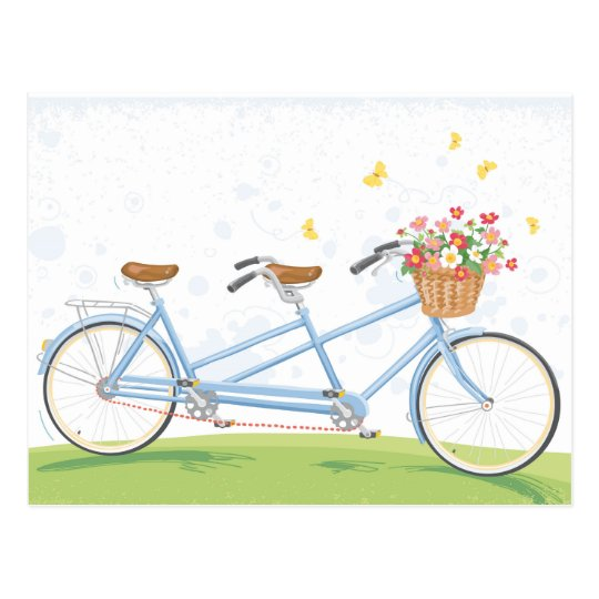 Vintage Tandem Bicycle with Flower Basket Postcard