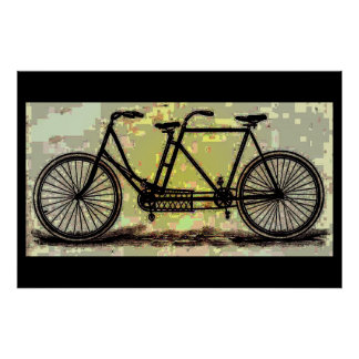 Vintage Tandem Bike Poster/ Bicycle Built for Two Poster