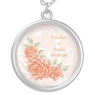 Vintage tangerine orange roses custom necklace