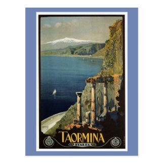 Vintage Taormina Sicily Italian travel ad Postcard