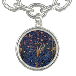 Vintage Tapestry Birds Floral Design Woodpecker Charm Bracelet