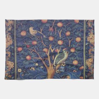 Vintage Tapestry Birds Floral Design Woodpecker Kitchen Towel