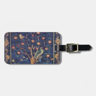 Vintage Tapestry Birds Floral Design Woodpecker Luggage Tag