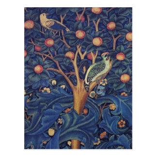 Vintage Tapestry Birds Floral Design Woodpecker Postcard