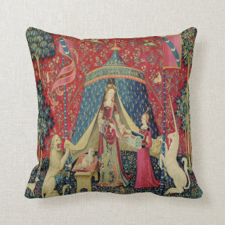 Vintage Tapestry Print Lady and Unicorn Pillow