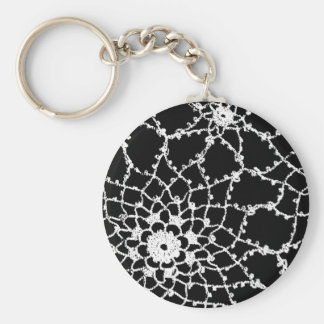 Vintage Tatted Lace Basic Round Button Keychain