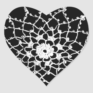 Vintage Tatted Lace Heart Sticker
