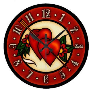 Vintage Tattoo Art Hearts Large Clock