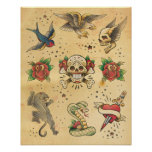 Vintage Tattoo Flash Poster