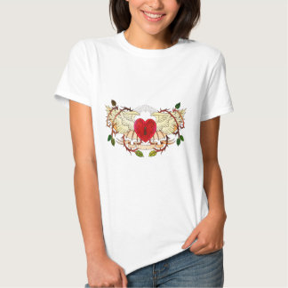 vintage tattoo of a winged heart tee shirt