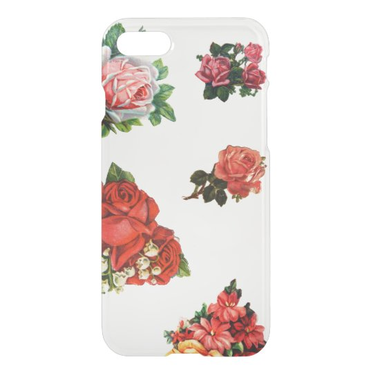 Vintage tattoo roses floral rose pattern clear iPhone 7 case