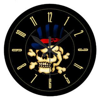 Vintage Tattoo Skull In Top Hat Large Clock