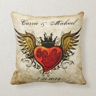 Vintage Tattoo Wedding Keepsake Pillow
