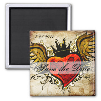 Vintage Tattoo Winged Heart Save the Date magnet