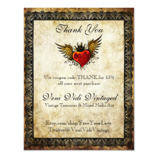 Vintage Tattoo Winged Heart Thank You Coupon Card