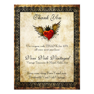 Vintage Tattoo Winged Heart Thank You Coupon Invitations