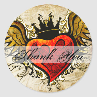 Vintage Tattoo Winged Heart Thank You Sticker