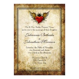 Vintage Tattoo Winged Heart Wedding Invitation