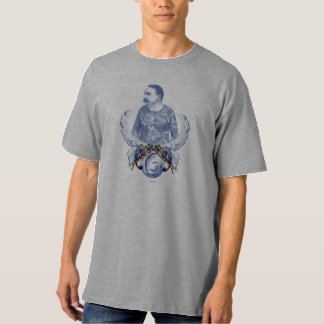 Vintage Tattooed Man And Two Chameleons Tee Shirt