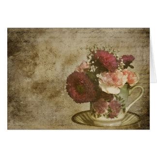 VINTAGE TEA CUP AND FLOWERS GREETING CARD