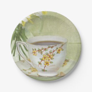 vintage tea cup set with daisies paper plate
