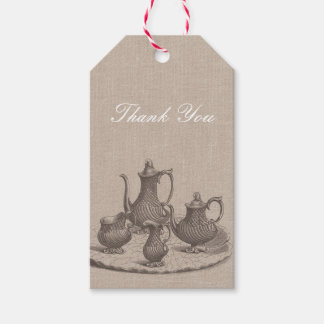 Vintage Tea Party Bridal Shower Thank You Rustic Gift Tags