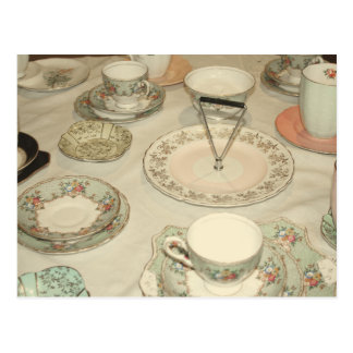 Vintage tea party, china tea set shabby chic postcard