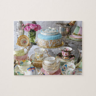 Vintage Tea Porcelain and 30th Cake Jigsaw Jigsaw Puzzle